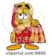 Clipart Picture Of A Badge Mascot Cartoon Character In Red And Orange Snorkel Gear