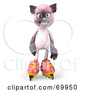 Royalty Free RF Clipart Illustration Of A 3d Pink Kitty Character Roller Blading Version 1
