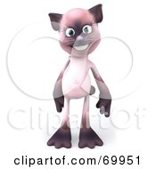 Royalty Free RF Clipart Illustration Of A 3d Pink Kitty Character Standing And Facing Front by Julos