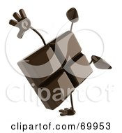 Royalty Free RF Clipart Illustration Of A 3d Chocolate Character Doing A Hand Stand by Julos