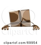 Royalty Free RF Clipart Illustration Of A 3d Chocolate Character Holding A Blank Sign by Julos