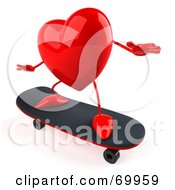 Royalty Free RF Clipart Illustration Of A 3d Red Heart Character Skateboarding by Julos