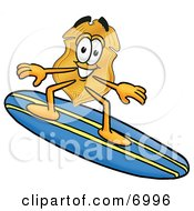 Clipart Picture Of A Badge Mascot Cartoon Character Surfing On A Blue And Yellow Surfboard by Toons4Biz