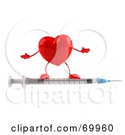 3d Red Heart Character Standing On A Syringe by Julos