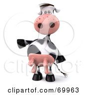 Royalty Free RF Clipart Illustration Of A 3d Horton The Cow Dancing Pose 3 by Julos