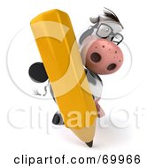 Royalty Free RF Clipart Illustration Of A 3d Horton The Cow With A Pencil Pose 3 by Julos
