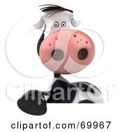 Royalty Free RF Clipart Illustration Of A 3d Horton The Cow Behind A Blank Sign Pose 1