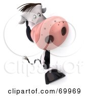 Royalty Free RF Clipart Illustration Of A 3d Horton The Cow Behind A Blank Sign Pose 4 by Julos