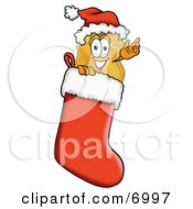 Badge Mascot Cartoon Character Wearing A Santa Hat Inside A Red Christmas Stocking