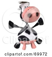 Royalty Free RF Clipart Illustration Of A 3d Horton The Cow Dancing Pose 5 by Julos