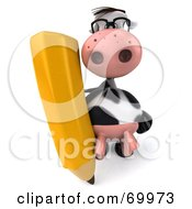 Royalty Free RF Clipart Illustration Of A 3d Horton The Cow With A Pencil Pose 2 by Julos
