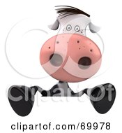 3d Horton The Cow Behind A Blank Sign Pose 2