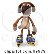Royalty Free RF Clipart Illustration Of A 3d Brown Pooch Character Roller Blading Pose 2 by Julos