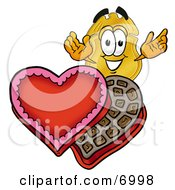 Badge Mascot Cartoon Character With An Open Box Of Valentines Day Chocolate Candies