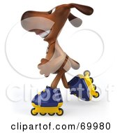 Royalty Free RF Clipart Illustration Of A 3d Brown Pooch Character Roller Blading Pose 3 by Julos