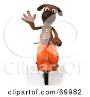 Royalty Free RF Clipart Illustration Of A 3d Brown Pooch Character Riding A Scooter Pose 2 by Julos