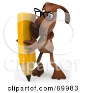 Royalty Free RF Clipart Illustration Of A 3d Brown Pooch Character Holding A Pencil Pose 2 by Julos