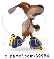 Royalty Free RF Clipart Illustration Of A 3d Brown Pooch Character Roller Blading Pose 4 by Julos