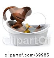 Royalty Free RF Clipart Illustration Of A 3d Brown Pooch Character Taking A Bath Pose 3 by Julos