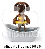 Royalty Free RF Clipart Illustration Of A 3d Brown Pooch Character Taking A Bath Pose 1 by Julos