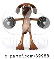 Royalty Free RF Clipart Illustration Of A 3d Brown Pooch Character Lifting Weights Pose 4 by Julos