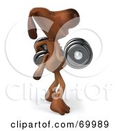 Royalty Free RF Clipart Illustration Of A 3d Brown Pooch Character Lifting Weights Pose 2 by Julos