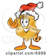 Clipart Picture Of A Badge Mascot Cartoon Character Wearing A Santa Hat And Waving by Toons4Biz