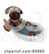 Royalty Free RF Clipart Illustration Of A 3d Brown Pooch Character Taking A Bath Pose 5 by Julos