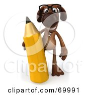 Royalty Free RF Clipart Illustration Of A 3d Brown Pooch Character Holding A Pencil Pose 1 by Julos