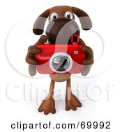 Royalty Free RF Clipart Illustration Of A 3d Brown Pooch Character Taking Pictures Pose 1