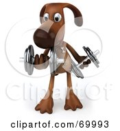 Royalty Free RF Clipart Illustration Of A 3d Brown Pooch Character Lifting Weights Pose 1 by Julos