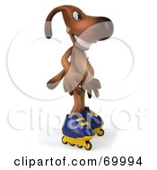 Royalty Free RF Clipart Illustration Of A 3d Brown Pooch Character Roller Blading Pose 1 by Julos