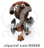 3d Brown Pooch Character Lifting Weights - Pose 3