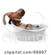 Royalty Free RF Clipart Illustration Of A 3d Brown Pooch Character Taking A Bath Pose 4 by Julos
