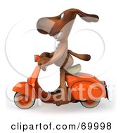 3d Brown Pooch Character Riding A Scooter - Pose 1
