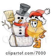 Badge Mascot Cartoon Character With A Snowman On Christmas