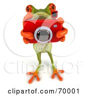 Royalty Free RF Clipart Illustration Of A 3d Green Tree Frog Taking Pictures Pose 1
