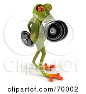 3d Green Tree Frog Lifting Weights Pose 4 by Julos