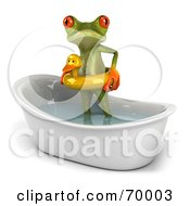 Royalty Free RF Clipart Illustration Of A 3d Green Tree Frog Taking A Bath Pose 2