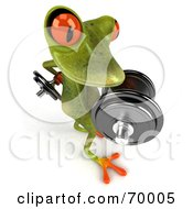 3d Green Tree Frog Lifting Weights Pose 5 by Julos
