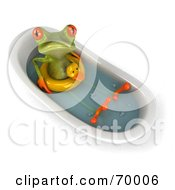 Royalty Free RF Clipart Illustration Of A 3d Green Tree Frog Taking A Bath Pose 5