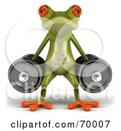 3d Green Tree Frog Lifting Weights Pose 1 by Julos