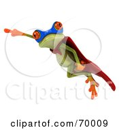 Royalty Free RF Clipart Illustration Of A 3d Green Tree Frog Super Hero Pose 9