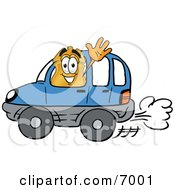 Clipart Picture Of A Badge Mascot Cartoon Character Driving A Blue Car And Waving by Toons4Biz