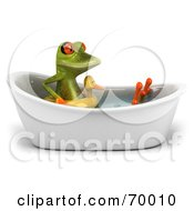 Royalty Free RF Clipart Illustration Of A 3d Green Tree Frog Taking A Bath Pose 4