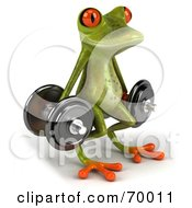 3d Green Tree Frog Lifting Weights Pose 2 by Julos