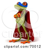 Royalty Free RF Clipart Illustration Of A 3d Green Tree Frog Super Hero Pose 4