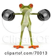 3d Green Tree Frog Lifting Weights Pose 7 by Julos