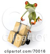 3d Green Tree Frog Delivering Boxes by Julos
