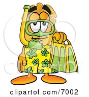 Clipart Picture Of A Badge Mascot Cartoon Character In Green And Yellow Snorkel Gear